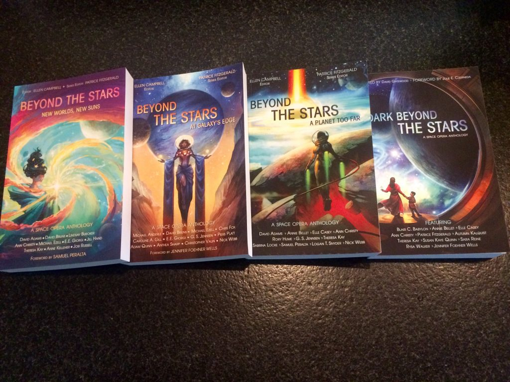 Four book covers for Beyond the Stars anthologies